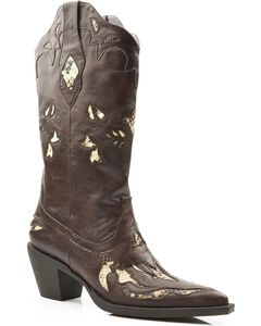 Roper Snake Print Inlay Cowgirl Boots - Pointed Toe, , hi-res