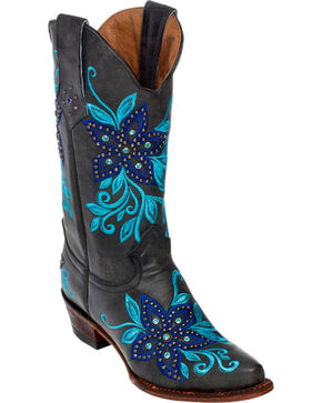 Ferrini Star Power Cowgirl Boots - Snip Toe, Black, hi-res