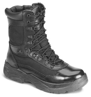"Rocky 8"" Fort Hood Zipper Waterproof Duty Boots, Black, hi-res"