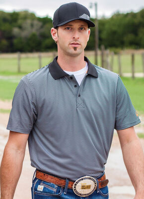 CInch Men's Black Striped Short Sleeve Polo Shirt, Black, hi-res