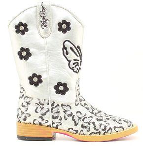 Blazin Roxx Youth Girls' Pecos Glitter Cowgirl Boots - Square Toe, Silver, hi-res