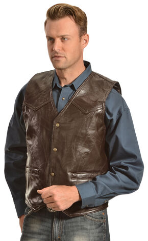 Red Ranch Men's Black Faux Leather Patchwork Vest, Brown, hi-res