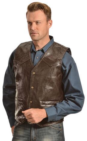 Red Ranch Men's Black Faux Leather Patchwork Vest, Brown, hi-res