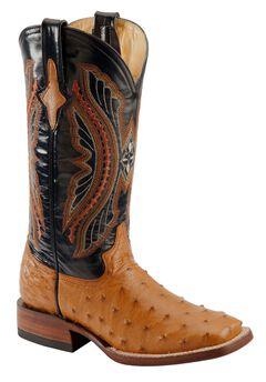 Ferrini Full Quill Ostrich Cognac Cowgirl Boots - Square Toe, , hi-res