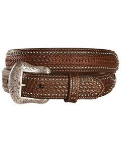 Nocona Ostrich Print Basketweave Billets Leather Belt, , hi-res