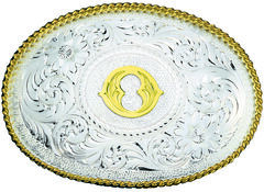Montana Silversmiths Engraved Initial O Western Belt Buckle, Multi, hi-res