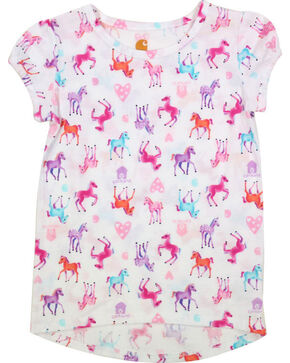 Carhartt Toddle Girls' Watercolor Horse Printed Tee , White, hi-res