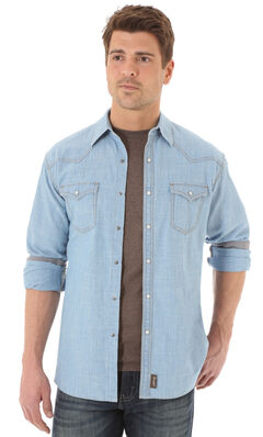 Wrangler Retro Men's Long Sleeve Denim Snap Shirt, , hi-res