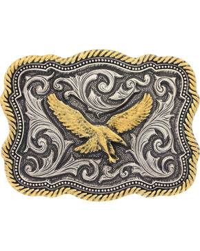 Montana Silversmiths Men's Silver Soaring Eagle Belt Buckle , Silver, hi-res