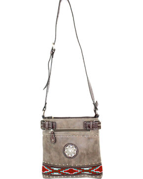 Savana Brown Aztec Print Crossbody, Brown, hi-res