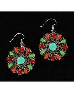 Blazin Roxx Round Multi-Colored Earrings, Multi, hi-res