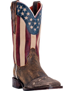 Dan Post Betsy Stars and Stripes Cowgirl Boots - Square Toe , Tan, hi-res