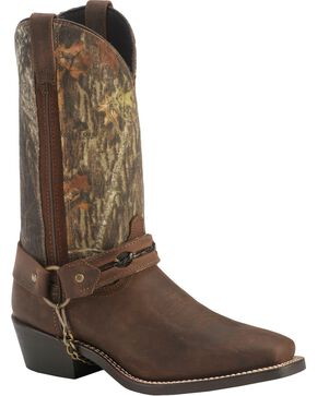 Laredo Mossy Oak Barbed Wire Harness Boots - Square Toe, Brown, hi-res