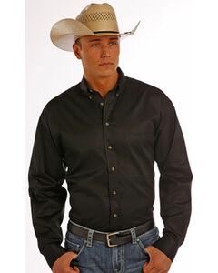 Panhandle Slim Men's Black Solid Twill Shirt, Black, hi-res