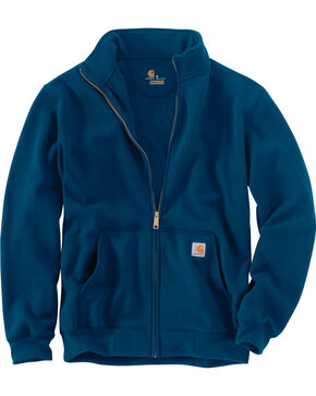 Carhartt Men's Haughton Mock Neck Zip Sweatshirt - Big and Tall, Blue, hi-res
