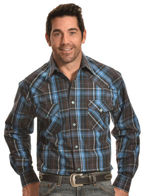 Crazy Cowboy Men's Brown and Blue Plaid Diamond Snap Shirt , Brown, hi-res