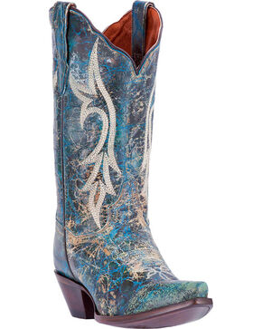 Dan Post Women's Turquoise Knockout Western Boots - Snip Toe , Dark Blue, hi-res
