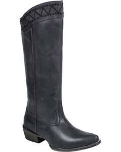 """Roper Black Embroidered 15"""" Cowgirl Boots - Snip Toe , , hi-res"""