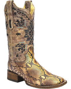 Corral Python Inlay Cowgirl Boots - Square Toe, , hi-res