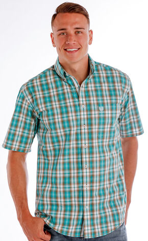 Panhandle Men's Evanston Ombre Plaid Shirt , Blue, hi-res