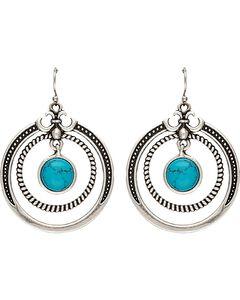 Wrangler Rock 47 Fleur de lis Blue Stone Double Loop Earrings, , hi-res