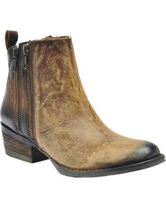 Circle G Burnished Double Zipper Short Boots - Round Toe, , hi-res