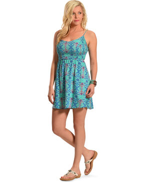 Derek Heart Mint Print Open Back Smock Dress , Mint, hi-res