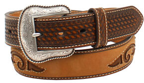 Nocona Men's Basketweave Star Inlay Belt, Distressed, hi-res
