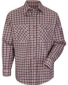 Bulwark Men's Burgundy Plaid Flame Resistant Uniform Shirt - Big & Tall , , hi-res