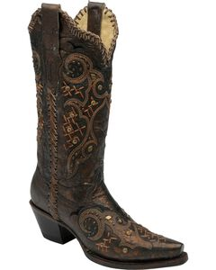 Corral Leather Laced & Studded Cowgirl Boots - Snip Toe, , hi-res