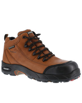 Reebok Men's Tiahawk Sport Hiker Waterproof Work Boots - Composition Toe, Brown, hi-res