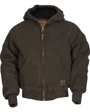 Berne Youth Kids' Washed Sherpa-Lined Hooded Jacket, Olive Green, hi-res