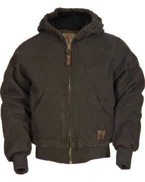 Berne Youth Kids' Washed Sherpa-Lined Hooded Jacket, Olive Green, hi-res