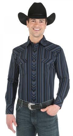Wrangler Silver Edition Blue and Black Dobby Stripe Western Shirt, , hi-res