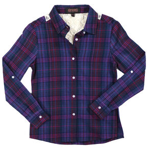Shyanne Girls' Plaid Lace Back Long Sleeve Shirt, Purple, hi-res