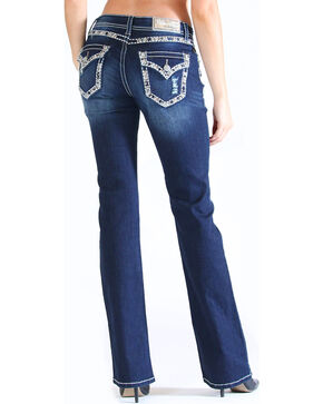 Grace in LA Women's Dark Blue Simple Embellished Pocket Jeans - Boot Cut , Dark Blue, hi-res