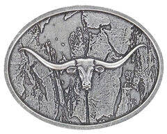 Cody James Men's Wood Grain Longhorn Buckle, Silver, hi-res
