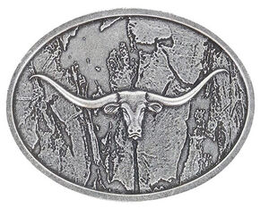 Cody James Men's Wood Grain Longhorn Buckle, Silver, hi-res