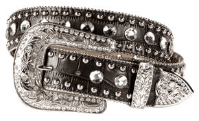 Blazin Roxx Black Croc Print Bling Belt, Black, hi-res