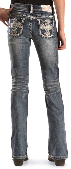 Grace in LA Girls' Scroll Bootcut Jeans, Indigo, hi-res
