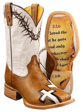 Tin Haul Between Two Thieves John 3:16 Cowboy Boots - Square Toe, Brown, hi-res