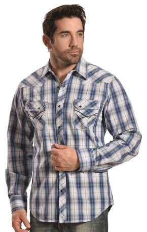Ely Men's 1878 Navy Plaid Western Shirt , Navy, hi-res