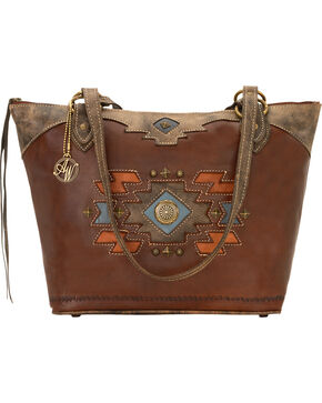 American West Zuni Passage Zip-Top Bucket Tote Bag, Chestnut, hi-res
