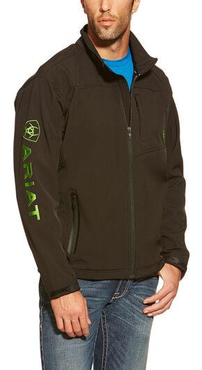 Ariat Men's Vernon Lime Logo Softshell Jacket, Black, hi-res