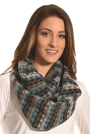 Rapti Fashion Blue and Tan ZigZag Stripe Cashmere Scarf, Blue, hi-res