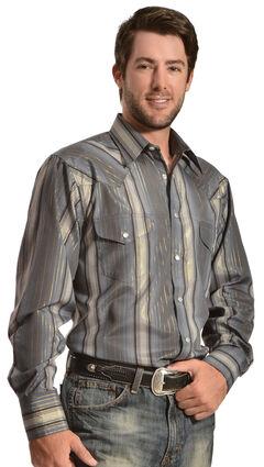 Gibson Trading Co. Charcoal Lurex Stripe Western Shirt, , hi-res