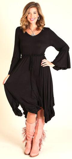 Wrangler Women's Black Handkerchief Hem Dress, , hi-res