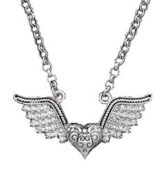 Montana Silversmiths Antique Winged Heart Necklace, , hi-res
