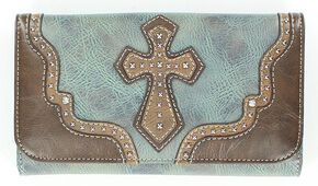 Blazin Roxx Studded Cross Applique Wallet, Blue, hi-res