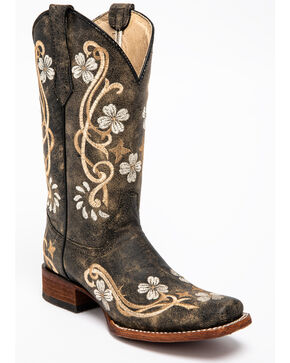 Corral Honey Cowhide Cowgirl Boots - Square Toe , Honey, hi-res